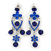 Sapphire Blue Austrian Crystal Chandelier Earrings In Rhodium Plating - 60mm L