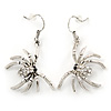 Silver Tone Crystal Spider Drop Earrings - 40mm L