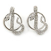 Rhodium Plated Austrian Crystal Snake Stud Earrings - 35mm L