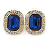 Gold Tone Clear, Navy Blue Crystal Square Stud Earrings - 23mm L