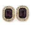 Gold Tone Clear, Deep Purple Crystal Square Stud Earrings - 23mm L