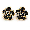 Black Enamel Crystal Rose Stud Earrings In Gold Tone - 20mm Diameter