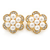 Crystal, Faux Pearl Flower Stud Clip On Earrings In Gold Plating - 25mm D