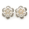 Crystal, Faux Pearl Flower Stud Clip On Earrings In Rhodium Plating - 25mm D