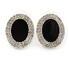 Crystal, Black Enamel Oval Stud Earrings In Rhodium Plating - 20mm L