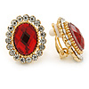 Red/ Clear Crystal Oval Stud Clip On Earrings In Gold Plating - 23mm L
