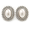 Large Crystal, Pearl Oval Shape Clip On Stud Earrings In Rhodium Plating - 30mm L