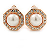 Prom/ Bridal Crystal, Faux Pearl Octagonal Stud Clip On Earrings In Rose Gold Finish - 17mm L