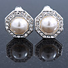 Prom/ Bridal Crystal, Faux Pearl Octagonal Stud Clip On Earrings In Silver Tone - 17mm L