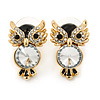 Crystal, Black Enamel Owl Stud Earrings In Gold Plating - 20mm L
