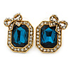 Vintage Inspired Square Shape with Bow Stud Earrings In Antique Gold Metal (Teal/ Clear) - 20mm L