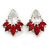 Clear/ Red CZ, Crystal Leaf Stud Earrings In Rhodium Plating - 26mm L