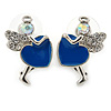 Funky Crystal Fairy with Blue Enamel Heart Stud Earrings In Rhodium Plating - 23mm L
