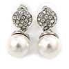 Bridal/ Prom/ Wedding Glass Pearl, Clear Crystal Acorn Drop Earrings In Rhodium Plating - 35mm L