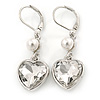 Clear Crystal Heart Drop Earrings In Silver Tone Metal with Leverback Closure - 40mm L