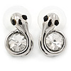 Small Clear Crystal Snake Stud Earrings In Rhodium Plating - 17mm