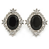 Bridal/ Prom/ Wedding Black, Clear Crystal Oval Clip On Earrings In Rhodium Plating - 35mm L