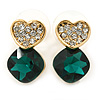 Clear/ Emerald Green Crystal Heart Stud Earrings In Gold Plating - 20mm L