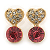 Small Clear/ Pink Crystal Heart Stud Earrings In Gold Plating - 18mm L