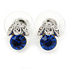 Tiny Sapphire/ Clear Round Cut Crystal Stud Earrings In Rhodium Plating - 10mm L