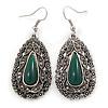 Teardrop Hematite Crystal, Green Resin Drop Earrings In Silver Tone - 50mm L