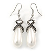 White Faux Teardop Pearl With Hematite Crystal Detailing Drop Earrings In Silver Tone - 45mm