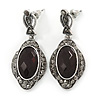 Black, Hematite Crystal Oval Marcasite Drop Earrings In Burnt Silver Tone - 45mm L
