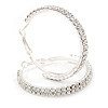 Two Row Crystal Hoop Earrings In Silver Tone - 45mm D
