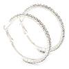 45mm Single Row Crystal Hoop Earrings In Silver Tone