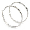 40mm Silver Tone Crystal Hoop Earrings