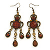 Victorian Style Brown Acrylic Bead Chandelier Earrings In Antique Gold Tone - 80mm L
