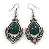 Victorian Style Green Glass, Hematite Crystal Drop Earrings In Silver Tone - 55mm L