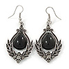 Victorian Style Black Glass, Hematite Crystal Drop Earrings In Silver Tone - 55mm L