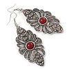 Marcasite Filigree, Hematite Crystal With Red Resin Stone Drop Earrings - 75mm L