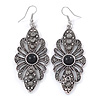 Marcasite Filigree, Hematite Crystal Drop Earrings - 75mm L