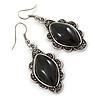 Victorian Style Black Ceramic Stone Diamond Drop Earrings In Silver Tone - 50mm L