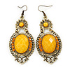 Victorian Style Yellow Acrylic Bead, Crystal Chandelier Earrings In Antique Gold Tone - 80mm L