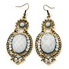 Victorian Style Dusty White Acrylic Bead, Crystal Chandelier Earrings In Antique Gold Tone - 80mm L