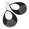 Large Black Enamel With Glitter Oval Hoop Earrings In Silver Tone - 90mm L