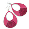 Large Fuchsia Enamel With Glitter Oval Hoop Earrings In Silver Tone - 90mm L