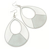 Large White Enamel With Silver Glitter Oval Hoop Earrings In Silver Tone - 90mm L
