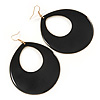 Large Black Enamel Oval Hoop Earrings In Gold Tone - 85mm L