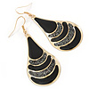 Black Enamel With Glitter Teardrop Earrings In Gold Tone - 65mm L