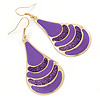 Purple Enamel With Glitter Teardrop Earrings In Gold Tone - 65mm L