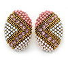 Boho Style Pink/ White/ Pale Pink Beaded Oval Stud Earrings In Gold Tone - 25mm L