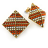 Boho Style Orange/ Cream/ White Beaded Square Stud Earrings In Silver Tone - 25mm