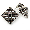 Boho Style Black/ Grey/ White Beaded Square Stud Earrings In Silver Tone - 25mm
