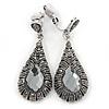 Marcasite Hematite Crystal, Light Grey Glass Teardrop Clip On Earrings - 45mm L