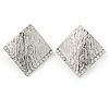 Silver Tone Textured Crystal Square Stud Earrings - 30mm