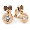 Small Gold Tone Crystal Bow Clip On Earrings - 20mm L